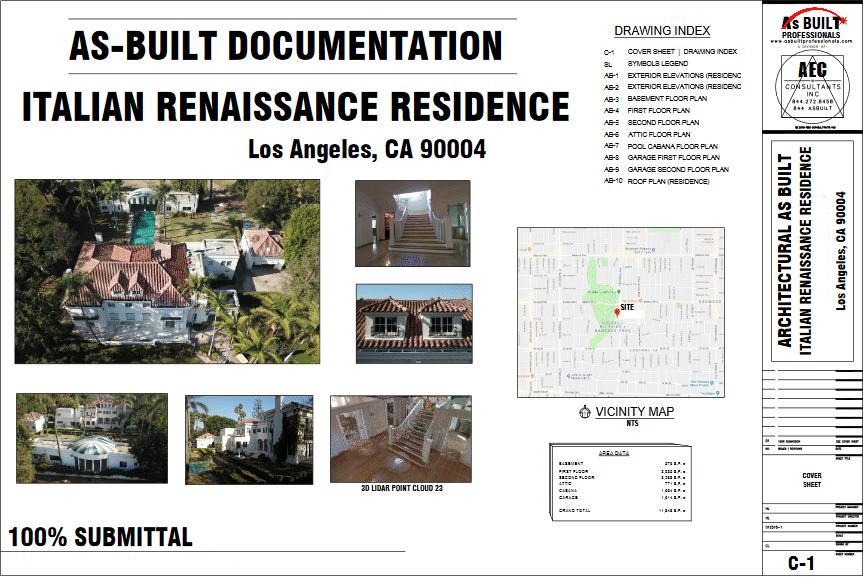 As Built Italian Renaissance Estate Los Angeles, CA